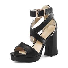 Donna Similpelle Tacco spesso Sandalo Stiletto Piattaforma Punta aperta scarpe (087172780)