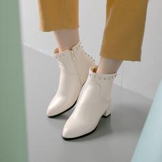 Frauen Kunstleder Stämmiger Absatz Absatzschuhe Stiefel Stiefelette mit Niete Schuhe (088139494)