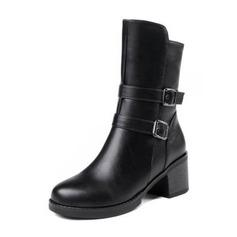 Femmes Similicuir Talon bottier Bottes Bottes mi-mollets avec Boucle chaussures (088190930)