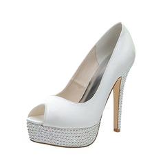 Women's Satin Stiletto Heel Peep Toe Platform Pumps Sandals With Rhinestone (047053931)