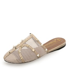 De mujer Cuero Tacón plano Cerrados Pantuflas con Rivet zapatos (086191465)