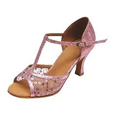 Kvinder Kunstlæder Hæle sandaler Latin med T-Strop Paillet Dansesko (053013134)