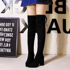 Frauen Veloursleder Stämmiger Absatz Absatzschuhe Geschlossene Zehe Stiefel Stiefel über Knie mit Zuschnüren Zweiteiliger Stoff Schuhe (088139806)