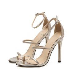 Женщины кожа Высокий тонкий каблук Открытый мыс Сандалии Beach Wedding Shoes (047123627)