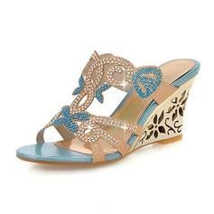 Donna Similpelle Zeppe Sandalo Zeppe Punta aperta con Strass scarpe (116094405)