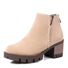 Frauen Veloursleder Stämmiger Absatz Absatzschuhe Stiefel Stiefelette mit Reißverschluss Schuhe (088147458)