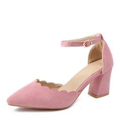 Donna Similpelle Tacco spesso Sandalo Stiletto Punta chiusa con Fibbia scarpe (085168416)