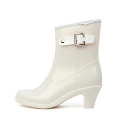 Donna PVC Tacco spesso Punta chiusa Stivali Stivali alla caviglia Stivali da pioggia con Fibbia scarpe (088127032)