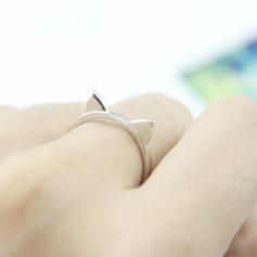 s925 Silver Unique Alloy Cat Ear Women's Fashion Rings Gaver (129140577)