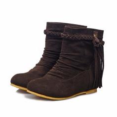 Frauen Veloursleder Niederiger Absatz Stiefelette Schuhe (088070004)