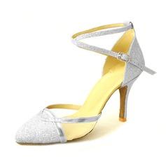 Kvinnor Glittrande Glitter Klackar Pumps Bal med Sotled Rem Dansskor (053013207)