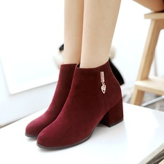 Frauen Wildleder Stämmiger Absatz Stiefel Stiefelette mit Reißverschluss Andere Schuhe (088109562)