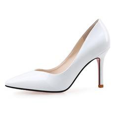 Donna Pelle verniciata Tacco a spillo Stiletto Punta chiusa scarpe (085090439)