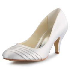 Women's Satin Stiletto Heel Closed Toe Pumps (047056188)