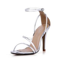 Donna Similpelle Tacco a spillo Sandalo Stiletto Punta aperta con Fibbia scarpe (087042777)