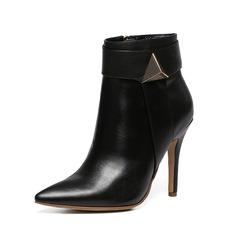Frauen Echtleder Stöckel Absatz Stiefel mit Geraffte Schuhe (088106095)