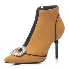 Frauen Veloursleder Stöckel Absatz Stiefel Stiefelette mit Kristall Schuhe (088175365)