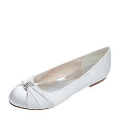 Frauen Satin Flascher Absatz Geschlossene Zehe Flache Schuhe mit Bowknot Strass (047053924)