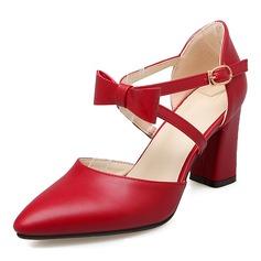 Donna Similpelle Tacco spesso Sandalo Stiletto Punta chiusa con Bowknot scarpe (085168424)