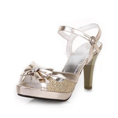 Women's Leatherette Cone Heel Sandals Slingbacks With Bowknot shoes (087023579)