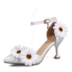 Donna Similpelle Tacco a spillo Stiletto Mary Jane con Fiore scarpe (085168426)