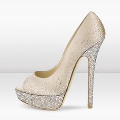 Donna Similpelle Tacco a spillo Stiletto Punta aperta con Strass scarpe (085171512)