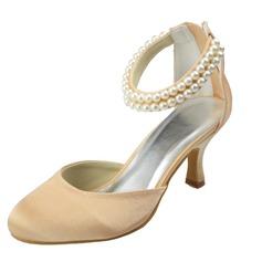 Frauen Satin Spule Absatz Geschlossene Zehe Absatzschuhe mit Nachahmungen von Perlen Reißverschluss (047063632)