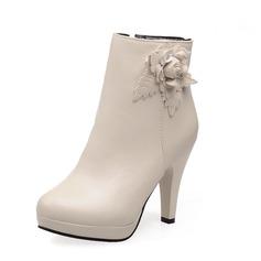 Frauen Kunstleder Stöckel Absatz Absatzschuhe Geschlossene Zehe Stiefel Stiefelette mit Blume Schuhe (088071263)