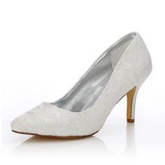 Frauen Lace Satin Stöckel Absatz Geschlossene Zehe Absatzschuhe Färbbare Schuhe (047088650)