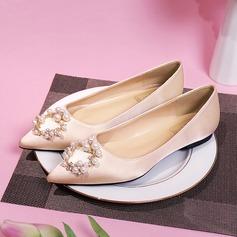 Frauen Seide wie Satin Flascher Absatz Geschlossene Zehe Flache Schuhe mit Kristall Perle (047190326)