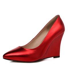 Naisten Aitoa nahkaa Wedge heel Avokkaat Suljettu toe kengät (085095962)