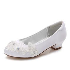 Mädchens Round Toe Geschlossene Zehe Mary Jane Seide wie Satin niedrige Ferse Blumenmädchen Schuhe mit Strass Applikationen (207202109)