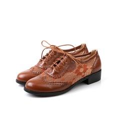 Vrouwen Kunstleer Low Heel Flats met Gevlochten Riempje schoenen (086097424)