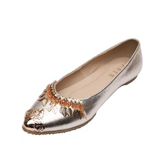 Leatherette Flat Heel Flats Closed Toe With Sequin shoes (086056682)