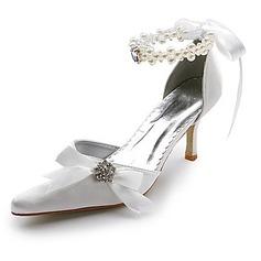 Frauen Satin Spule Absatz Geschlossene Zehe Absatzschuhe mit Nachahmungen von Perlen Strass Satin Schnürsenkel (047004903)