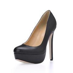De mujer Cuero Tacón stilettos Salón Plataforma Cerrados zapatos (085020585)