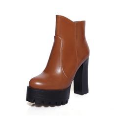 Frauen Kunstleder Stämmiger Absatz Stiefelette Schuhe (088074435)