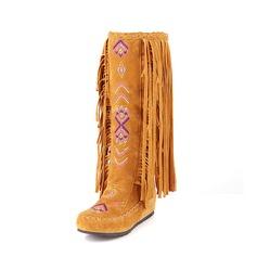 Frauen Veloursleder Flascher Absatz Flache Schuhe Geschlossene Zehe Stiefel-Wadenlang Schneestiefel mit Quaste Andere Schuhe (088126567)