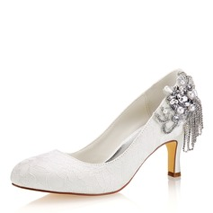 Women's Silk Like Satin Stiletto Heel Closed Toe Pumps With Crystal (047190303)