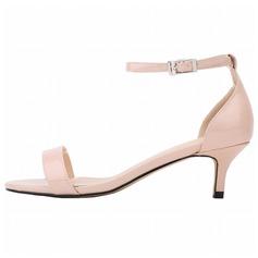 Donna Pelle verniciata Tacco basso Sandalo Punta aperta scarpe (087091909)