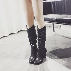 Frauen PU Stämmiger Absatz Absatzschuhe Stiefel Kniehocher Stiefel mit Rüschen Schuhe (088145823)