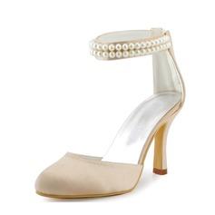 Vrouwen Satijn Stiletto Heel Closed Toe Pumps met Imitatie Parel (047005443)