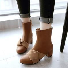 Frauen Kunstleder Stämmiger Absatz Stiefel mit Bowknot Reißverschluss Schuhe (088109564)