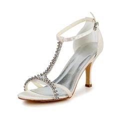 Women's Satin Stiletto Heel Pumps Sandals With Buckle Rhinestone (047040212)