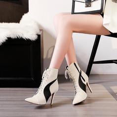Frauen PU Stöckel Absatz Absatzschuhe Stiefel mit Zuschnüren Zweiteiliger Stoff Schuhe (088137503)