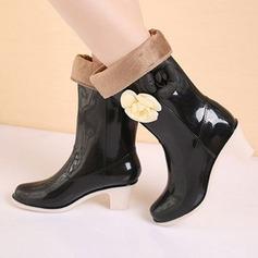 De mujer PVC Tacón ancho Botas Botas longitud media Botas de lluvia con Flor zapatos (088127051)