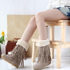 Frauen Veloursleder Flascher Absatz Flache Schuhe Geschlossene Zehe Stiefel Schneestiefel mit Quaste Schuhe (088126569)