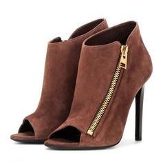Donna Camoscio Tacco a spillo Stiletto Punta aperta con Cerniera scarpe (087171518)