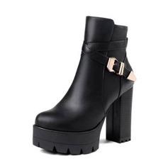 Femmes Similicuir Talon bottier Escarpins Plateforme Bottes Bottines avec Boucle chaussures (088190928)