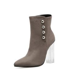 Frauen Veloursleder Stämmiger Absatz Absatzschuhe Stiefelette mit Reißverschluss Knopf Schuhe (088138793)